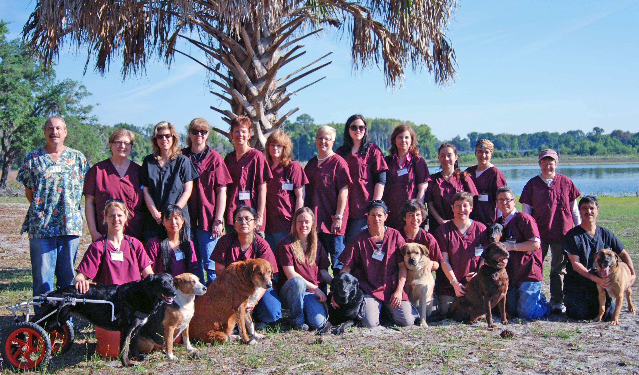 Students at canine behavior ARL at college's Dream Pond Science Field Station and Reserve in Crescent City FL USA